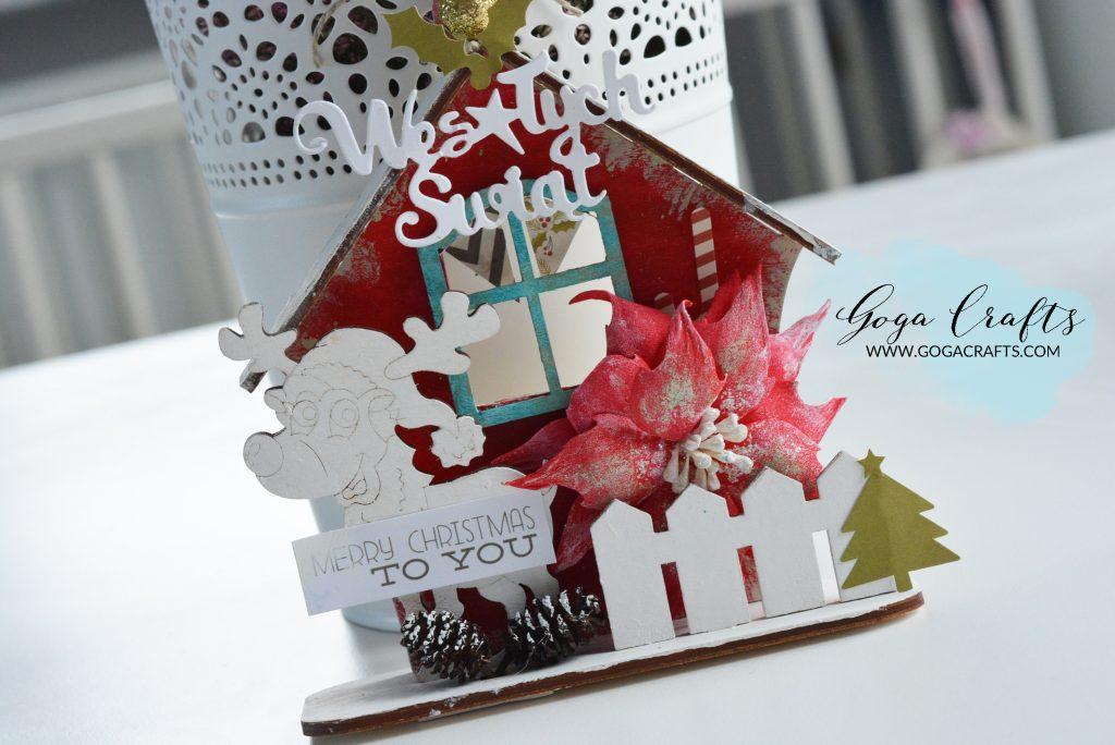 Świąteczny domek z reniferem w stylu scrapbookingowym