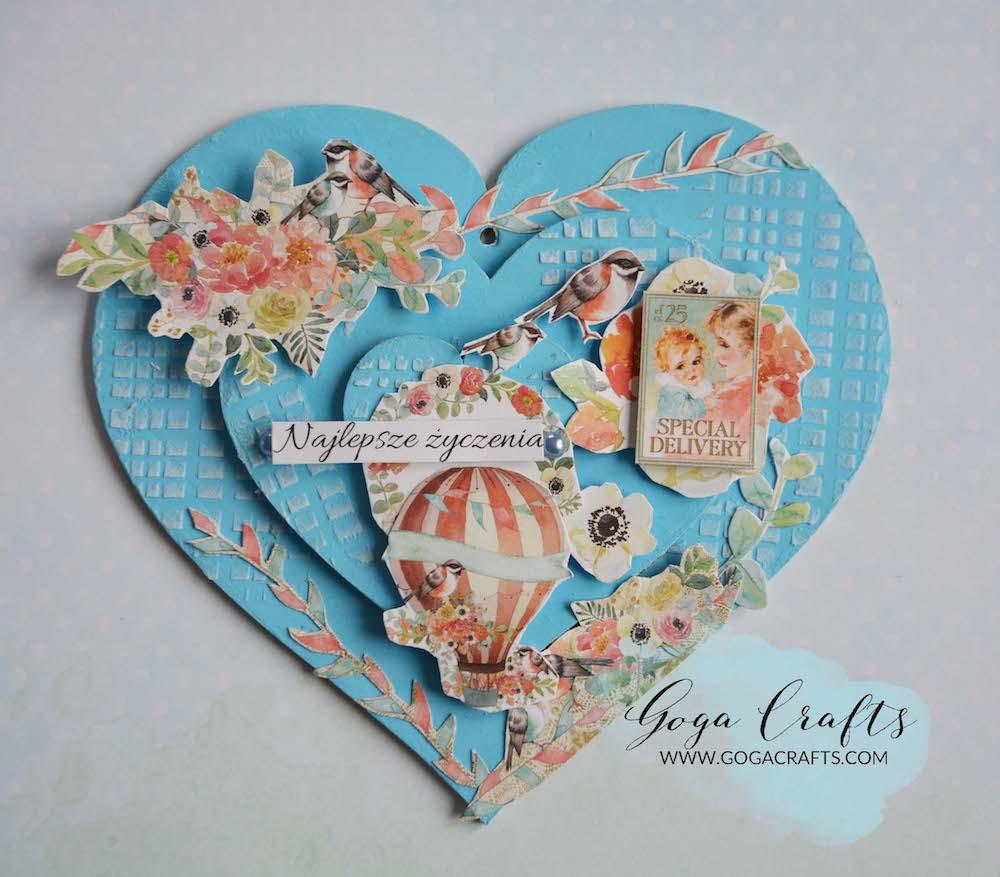 Serce w stylu scrapbookingowym – blejtram jako prezent na Dzień Kobiet